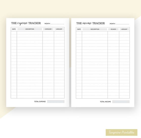 expense tracker and income tracker a5 planner inserts