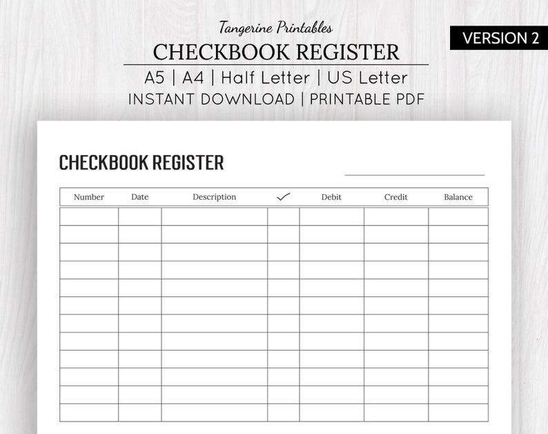 image relating to Printable Bank Register referred to as Checkbook Sign up Incorporate Printable Checkbook Sign up Financial institution Account Tracker Checkbook Printable A5, A4, US Letter, 50 percent Letter Measurements