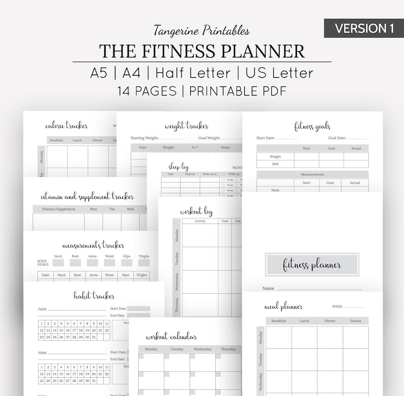 graphic regarding Fitness Planner Printable named Conditioning Planner Printable Health and fitness Planner Health and fitness Tracker Excess weight Reduction Tracker Conditioning Tracker A5, A4, US Letter, Fifty percent Letter Measurements