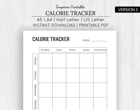 picture relating to Printable Calorie Tracker named Calorie Tracker Nutrients Tracker Printable Nutrients Tracker Fat Tracker Conditioning Tracker A5, A4, US Letter, 50 % Letter Measurements