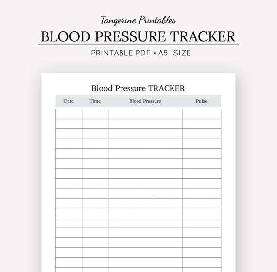 blood pressure tracker health journal a5 insert a5 etsy