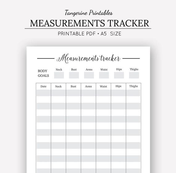 measurement tracker printable planner a5 printables body measurement tracker body progress tracker health tracker fitness journal