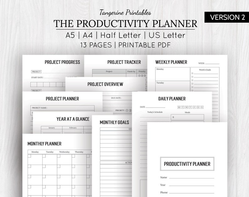 picture regarding Productivity Planner Templates known as Undertaking Planner Printables Efficiency Planner Printable Efficiency Template Intent Planner A5, A4, US Letter, Fifty percent Letter
