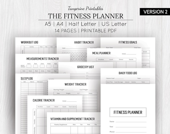 photograph regarding Printable Workout Log identified as Health Planner Printable Exercise session Log Calorie Tracker Pounds Decline Tracker Conditioning Planner A5, A4, US Letter, Fifty percent Letter Measurements
