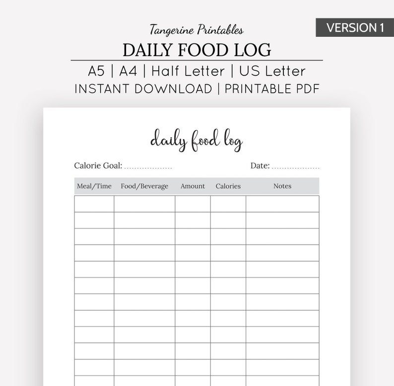image about Food Tracker Printable identified as Everyday Foods Tracker Printable Every day Foods Log Day-to-day Meals Magazine A5 A4 US Letter Fifty percent Letter Sizing Printable Conditioning / Conditioning Planner