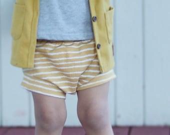 Organic baby shorts - toddler shorts - mustard shorts - baby shorties - harem shorts - organic baby clothing - baby shower gift - baby gift