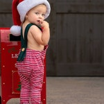 Christmas romper - organic baby romper - baby overalls - christmas overalls  - christmas outfit - toddler christmas - Elf outfit