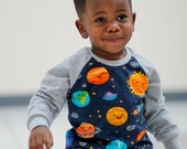 Baby raglan - planets - science - solar system- outer space - Kids cotton pullover -