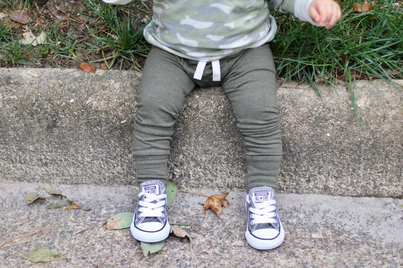 Olive Green Baby Leggings  SLIMS  Skinny pants for baby  image 0
