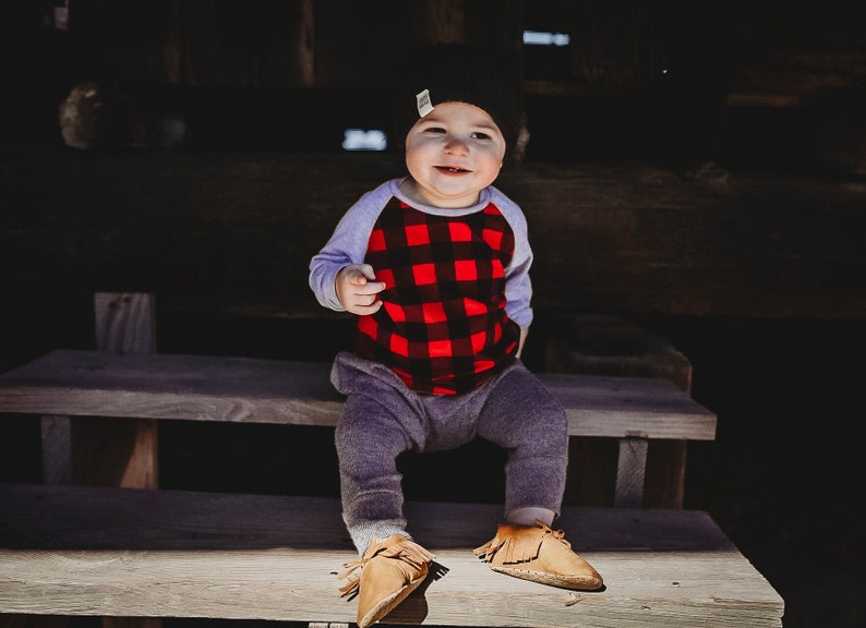 Buffalo plaid baby shirt  Toddler Christmas outfit boy image 0