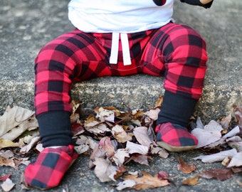 Red and Black Buffalo Plaid Baby Leggings - Valentine's Baby Boy Leggings - Toddler Pants - Baby Pants - Baby Joggers - Toddler Leggings