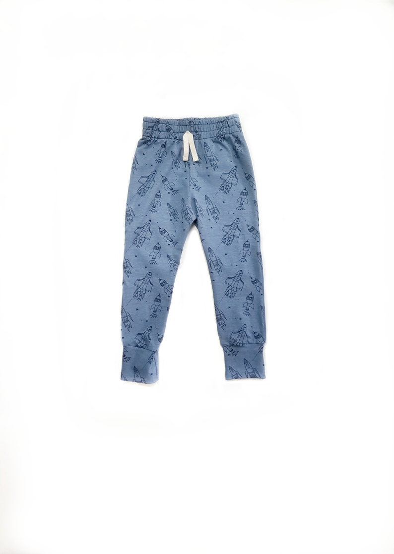 Organic baby joggers  science pants  space  rockets   baby image 0