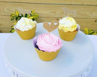 Unicorn Cupcake Toppers; Hearts cupcake topper, unicorn birthday party, gold unicorn