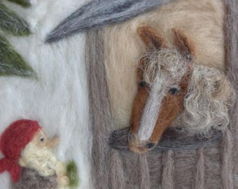 feltet picture, tomte with horse