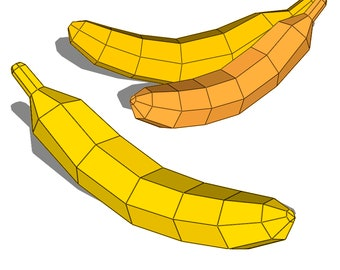 banana papercraft Fruit  Faux 3D model lowpoly, DIY paper sculpture Geometric  PDF template paper