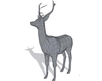 papercraft deer etsy
