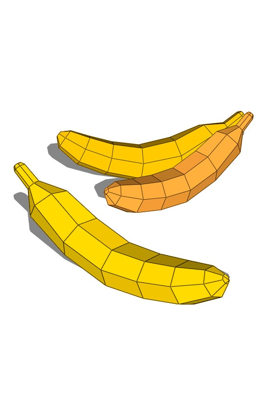 graphic about Banana Template Printable identify banana papercraft Fruit Pretend 3D design and style lowpoly, Do-it-yourself paper sculpture Geometric PDF template paper