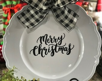 Merry Christmas Charger Plate - Gifts for Her - Housewarming Gifts - Teacher Gifts - Hostess Gifts - Christmas Ribbon - Buffalo Plaid