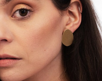 Brass matte statement shapes studs