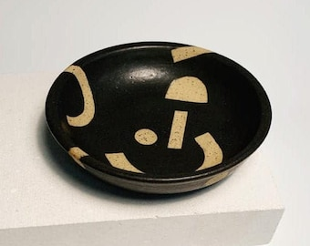 Black glazed ceramic jewellery bowl