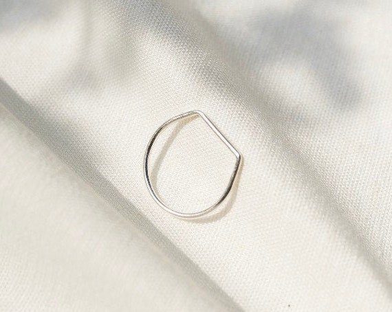 Recycled silver stacking ring | Eco sterling silver straight edge stacker ring