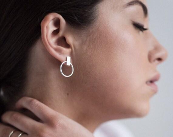 Hammered bar and hoop stud earrings
