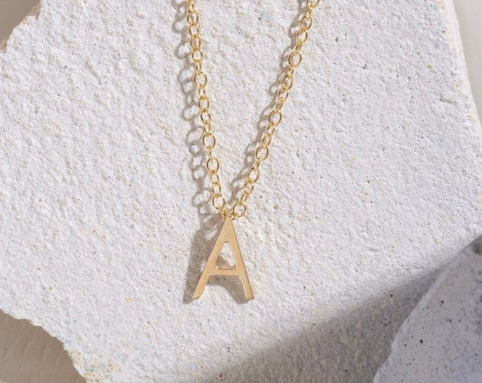 9ct recycled gold mini initial necklace