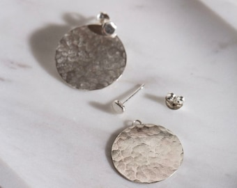 sterling silver hammered disc ear jackets