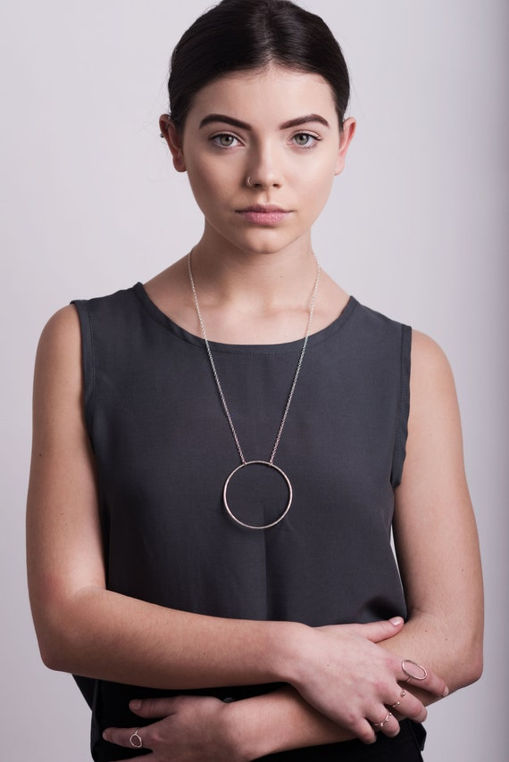 Statement open circle necklace