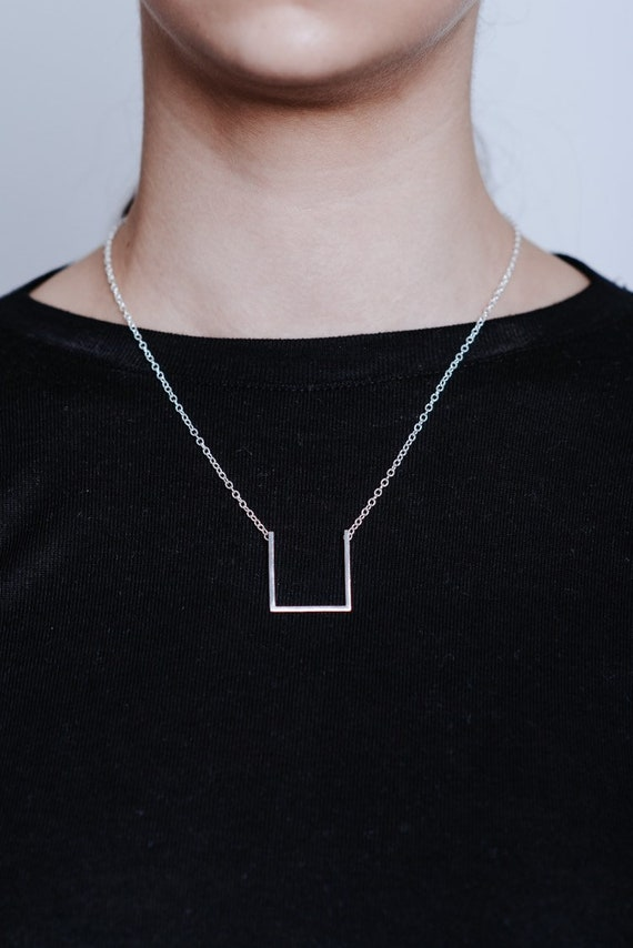 Sterling silver open square pendant | Minimalist modern statement necklace | Simple chain necklace | Contemporary unusual design