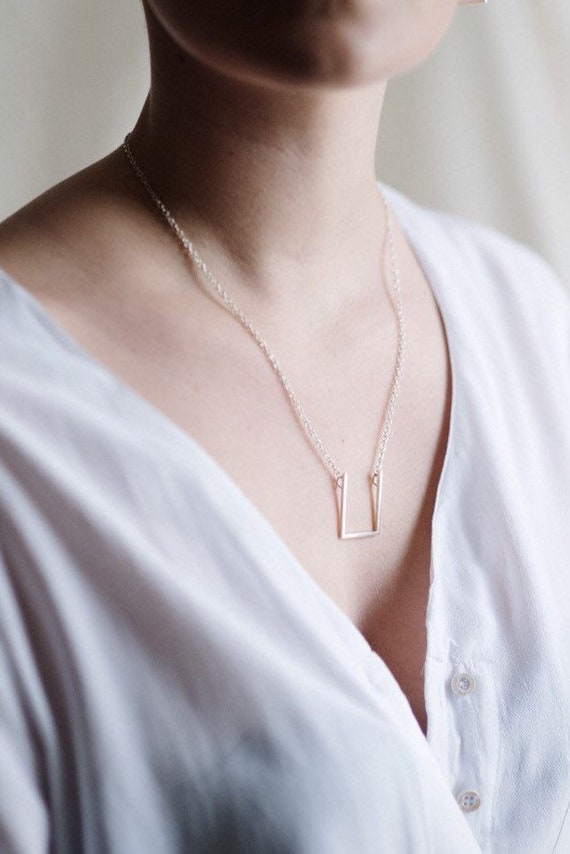 Statement open square necklace