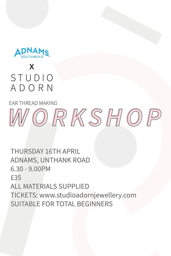 16th April - Adnams fizz and jewellery making workshop