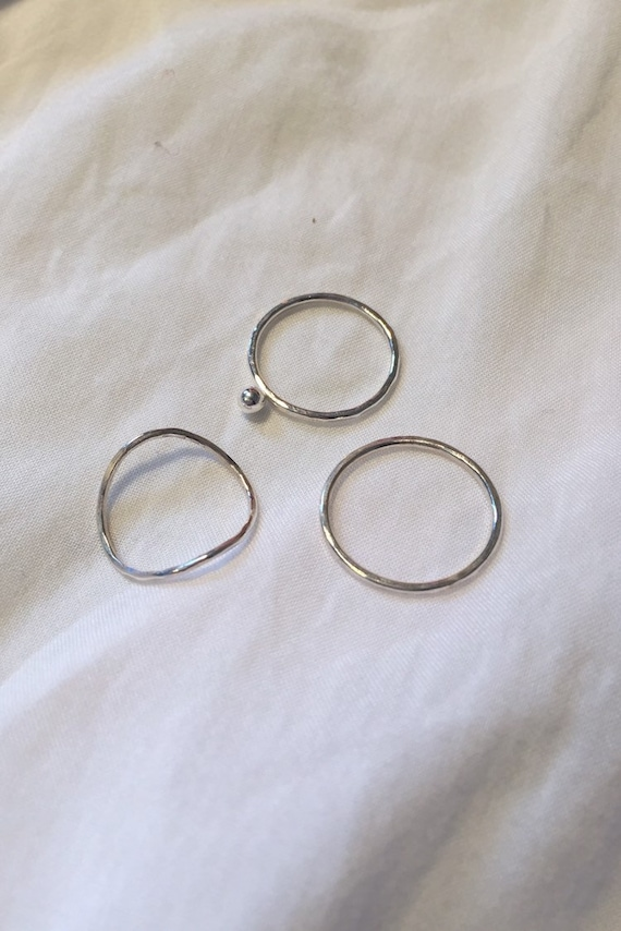 Sterling silver stacking rings set | Minimal jewellery | Modern stacker | Simple ring | Contemporary hammered band | Set of 3 unusual unique