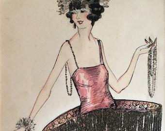Original Art Deco Flapper Costume Illustration
