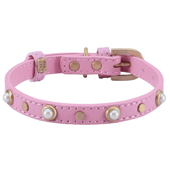 Small Dog Collar Pearls And Gems S-XS 10-12 in Pretty Pink Girly Fashion