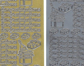 Congratulations stickers, metallic silver and gold foiled peel off stickers for card making, scrapbooking, invitations and more