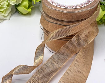 Wired edge Rose Gold Ribbon, metallic lame mesh, 3 widths, wedding bouquet ribbon, Christmas tree decoration