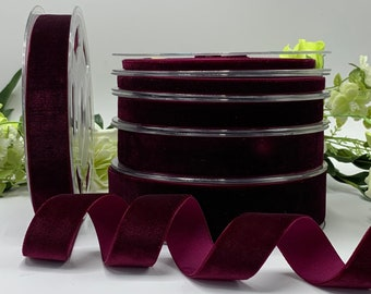 Burgundy velvet ribbon,wine velvet ribbon,ribbon for bows,ribbon by the yard,ribbon for invitations,sewing ribbon,122