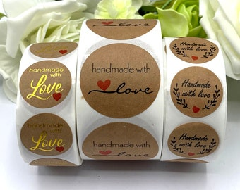 Handmade with Love stickers, round kraft paper stickers, 1 inch and 1.5 inch - home made Christmas gift finishing touch