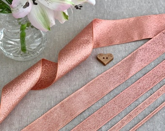 Rose Gold Ribbon - BERISFORDS LAME - 3/7/15/25/40mm - 1m/3m/5m 10m Length - Cake Decoration - Metallic Sparkle Trim - Wedding