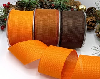 """2.5"""" woven textured ribbon with wired edge, Autumn shades - orange, rust, brown -  For door wreaths, bows and tree decoration"""