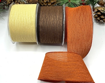 """2.5"""" wired Autumn ribbons, Brown, Burnt Orange or Natural Cream textured ribbons for door wreaths, bows and tree decoration"""