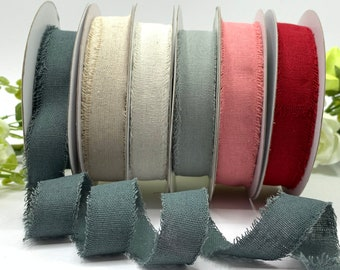 1 inch frayed edge ribbon, natural cotton linen trim, rustic tape in ivory, natural, pink, red, grey and green, sold in 1m 3m 5m and 10m