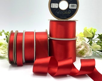 Scarlet Red Double Satin Ribbon, bright red Christmas ribbon, Berisfords recycled eco friendly Ribbon, 7-70mm widths - Shade 1001