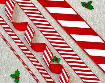 """Christmas Ribbon, Red & White Candy Stripe Ribbon - 1/8"""" 2/8"""" 3/8"""" 5/8"""" 7/8"""" 1 1/2"""" - Christmas Candy Cane - Christmas Hamper Bow - Sweets"""