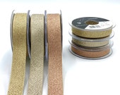Oatmeal Trim with Metallic Gold, Silver or Rose Gold Zig Zag Design - 5 8 quot or 1 quot Vintage Wedding Ribbon - Rose Gold Ribbon - Rustic Wrap