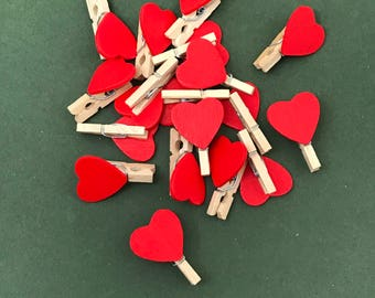 Red Heart Pegs Mini Wooden Craft Pegs Valentine Crafts Mm Pegs Wedding Decoration Scrapbook Pegs Cute Embellishment