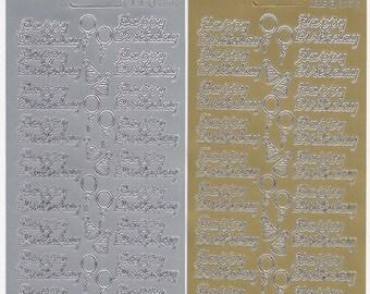 silver /& gold of each design Peel Offs x 5 designs Happy Birthday