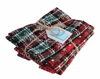 Christmas plaid / tartan fat quarters, 4 red printed snowflake fabrics for festive sewing fabric for stockings and decoration