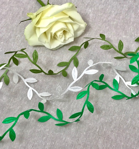 sold by the metre May Arts Satin Leaf Trim Ribbon